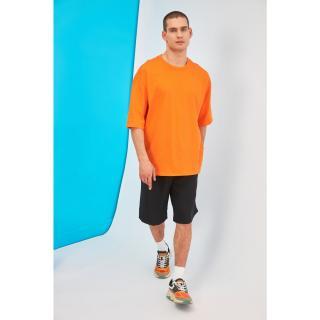 Trendyol Orange Male Oversize Back Printed Bike Collar T-Shirt M
