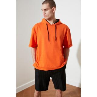 Trendyol Orange Male Oversize Fit Hooded Short Sleeve Sweatshirt M