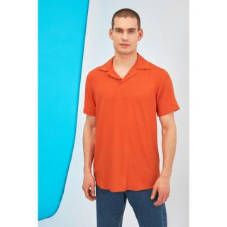 Trendyol Orange Mens Regular Fit Apaş Collar Half Pat Shirt pánské S