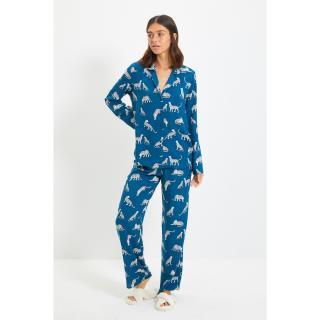 Trendyol Petrol Animal Pattern Viscose Woven Pajamas Set dámské Other 40