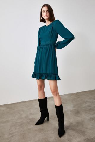 Trendyol Petrol Flywheel Lace Detailing Dress dámské 34