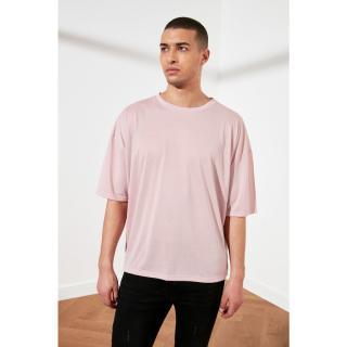 Trendyol Pink Basic Mens Bike Collar Oversize Short Sleeve T-Shirt pánské S