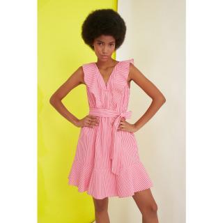 Trendyol Pink Belt Striped Dress dámské 34