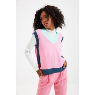 Trendyol Pink Color Block Knitwear Sweater dámské Other L
