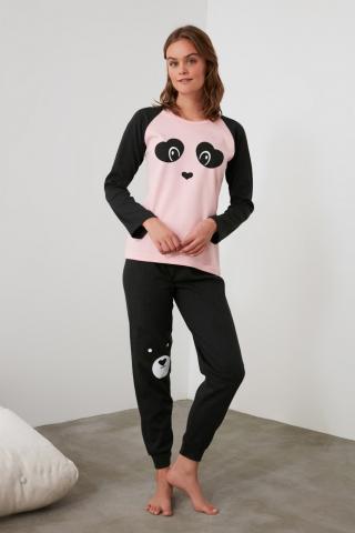 Trendyol Pink Embroidered Knitted Pajama Set dámské S
