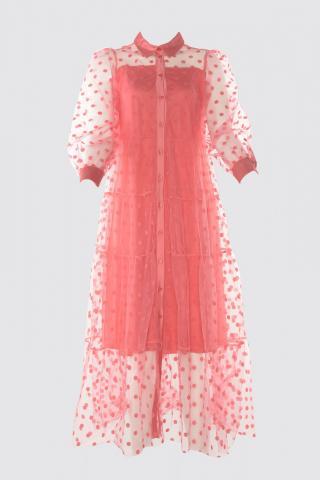 Trendyol Pink Flok Printed Dress dámské 34
