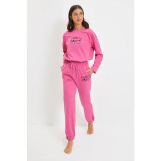 Trendyol Pink Printed Knitted Pajamas Set dámské Other M