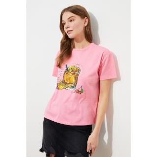 Trendyol Pink Printed Semifitted Knitted T-Shirt dámské XS