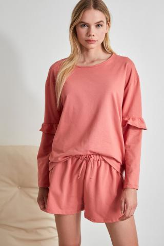 Trendyol Pink Sleeve Detailed Knitted Pyjama Set dámské L