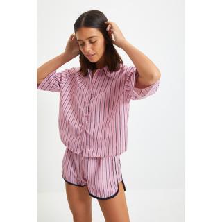 Trendyol Pink Striped Woven Pajamas Set dámské Other 44