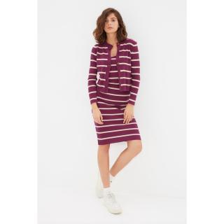 Trendyol Plum Striped Dress-Cardigan Knitwear Suit dámské Other S