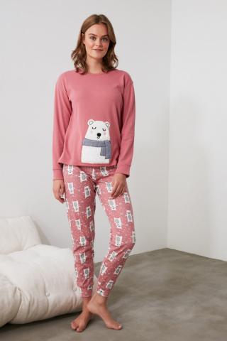 Trendyol Powder Embroidered Knitted Pajama Set dámské powder pink S