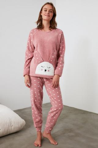 Trendyol Powder Embroidered Wellsoft Pajama Set dámské powder pink S