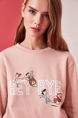 Trendyol Powder Flintstones Licensed Printed Basic Knitted Sweatshirt dámské powder pink XS