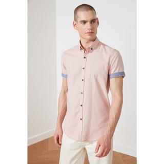Trendyol Powder Men Slim Fit Buttoned Collar Short Sleeve Linen Shirt pánské powder pink S
