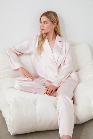 Trendyol Powder Satin Pyjama Set dámské powder pink 34