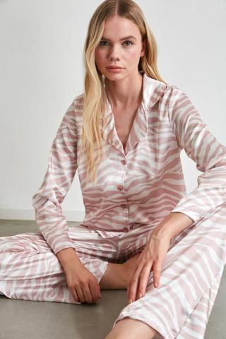 Trendyol Powder Satin Woven Pyjama Set dámské powder pink 40