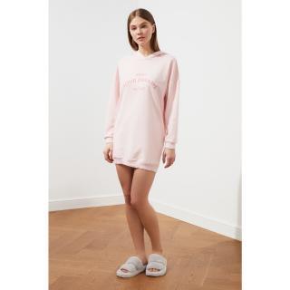 Trendyol Powder Slogan Hooded Dress dámské powder pink S