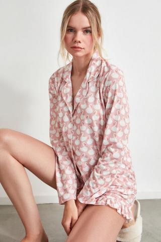 Trendyol Powder Swan Patterned Knitted Pyjamas Set dámské powder pink S