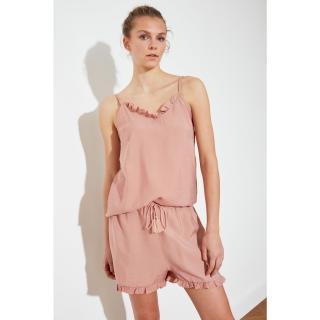 Trendyol Powder Woven Pyjama Set dámské powder pink 34