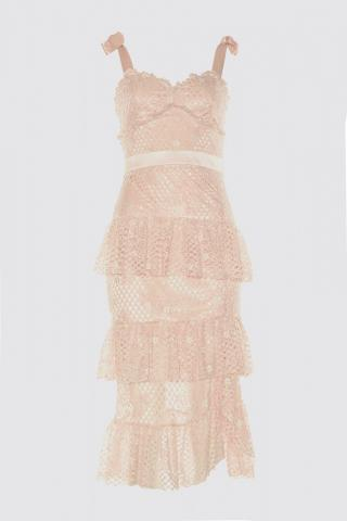 Trendyol PowderRuffRuff Detailed Lace Dress dámské powder pink 34