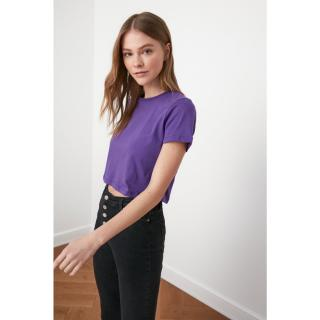 Trendyol Purple 100% Cotton Süprem Bicycle Collar Crop Knitted T-Shirt dámské XS