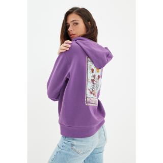 Trendyol Purple Back Printed Hoodie Basic Thin Knitted Sweatshirt dámské Other M
