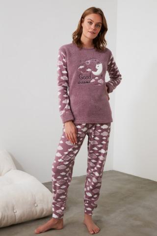 Trendyol Purple Embroidered Wellsoft Pajama Set dámské S