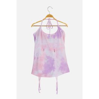 Trendyol Purple Gathered Tie-Dye Knitted Blouse dámské S