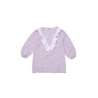 Trendyol Purple Gingham Patterned Garnish Girl Knitted Dress dámské Other 6-7 Y