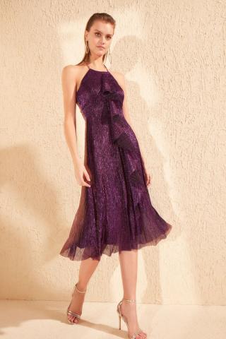 Trendyol Purple Glow-In-Detailed Dress dámské 34