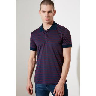 Trendyol Purple Male Slim Fit Short Sleeve Striped Polo Neck T-shirt S