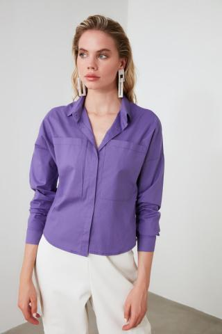 Trendyol Purple Pocket Detailed Shirt dámské 34