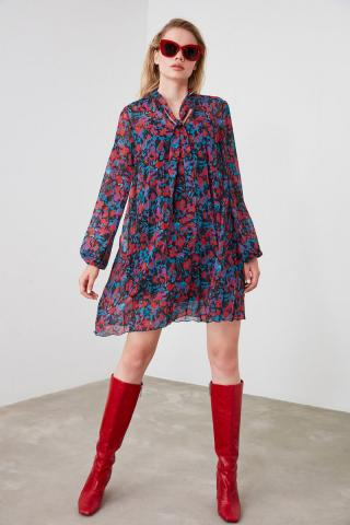 Trendyol Purple Scarf Collar Plise Dress dámské 34