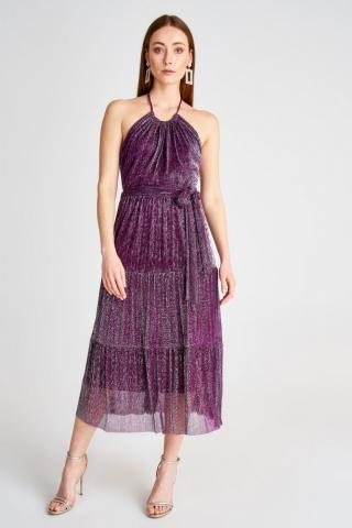 Trendyol Purple Sparkling Belt Detailed Dress dámské 34