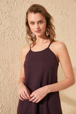 Trendyol Purple Strapskirt Tip Poplin Knitted Dress dámské XS