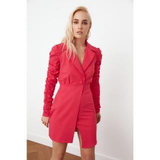 Trendyol Push-up Sleeve Jacket Dress dámské Fuchsia 34
