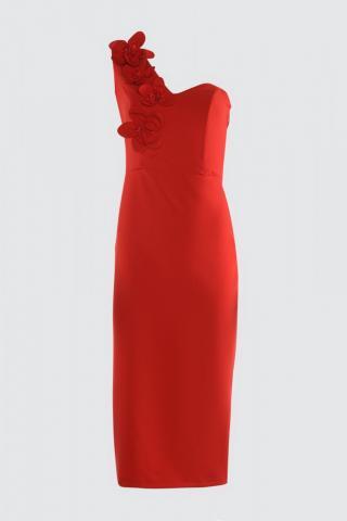Trendyol Red Appliqué Detailed Dress dámské 34