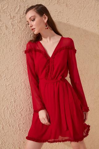 Trendyol Red Belt Detailed Dress dámské 34