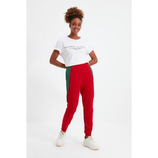 Trendyol Red Color Block Basic Jogger Thick Knitted Sweatpants dámské Other XS