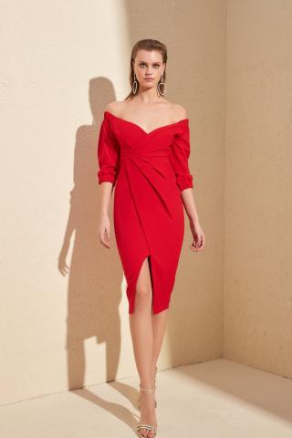 Trendyol Red Drape Detailed Dress dámské 34