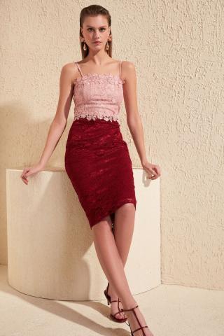 Trendyol Red Lace Detailed Dress dámské 36