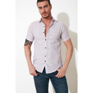 Trendyol Red Men Slim Fit Shirt Collar Short Sleeve Shirt pánské S