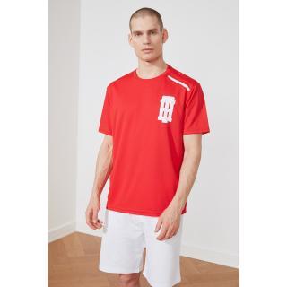 Trendyol Red Mens Regular Fit Bike Collar Short Sleeve T-Shirt pánské S