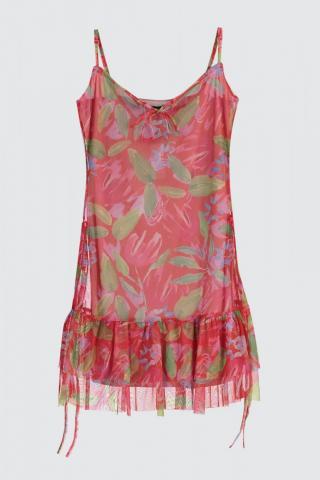 Trendyol Red Printed Tulle Knitting Dress dámské S