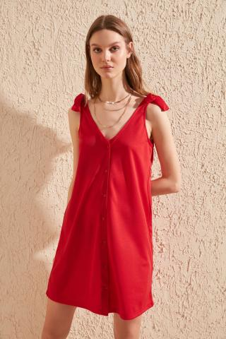 Trendyol Red tie detailed knitted dress dámské XS