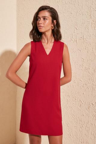 Trendyol Red V Collar Basic Dress dámské 34