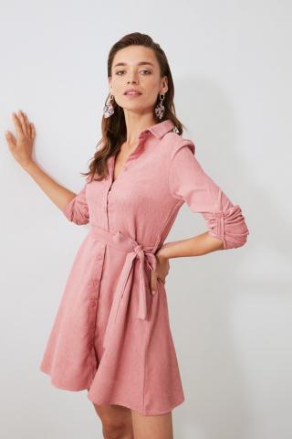 Trendyol Rose Dry Belt Velvet Shirt Dress dámské 34
