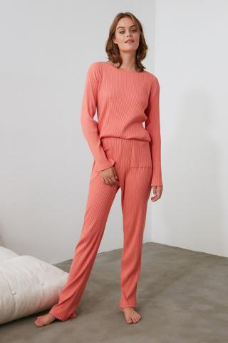 Trendyol Rose Dry Binding Detailed Knitted Pajama Set dámské S