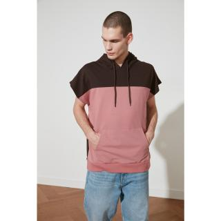 Trendyol Rose Dry Mens Oversize Hooded Paneled Short Sleeve Sweatshirt pánské S